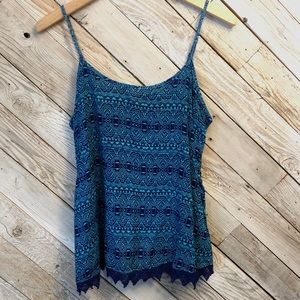 Blue Tribal Print Flowy Tank by Mossimo Supply Co.